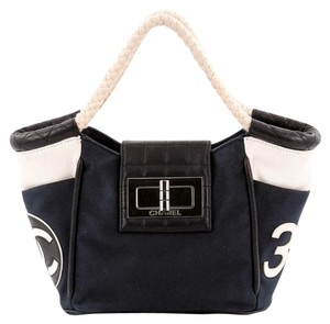 Chanel Canvas&leather Tote in Blue, Black and White