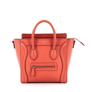 Cline Celine Leather Tote in Orange
