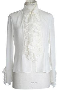 Valentino Ruffled Size 8 Top Winter White