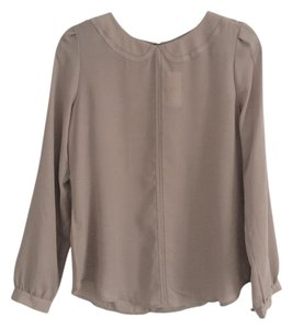 Ann Taylor LOFT Gold Button Top Dusty Rose Gray