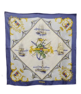 Herms HERMES Multi Color Blue Ivory White BORDEAUX PORTE OCEANE 90cm Scarf