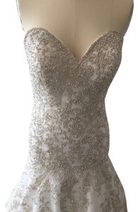 Allure Bridals Ivory/Silver Beaded Tulle C365 Formal Wedding Dress Size 12 (L)