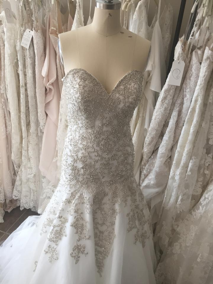 Allure Bridals Ivory/Silver Beaded Tulle C365 Formal Wedding Dress ...