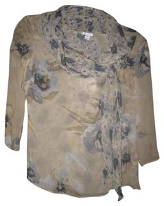 Max Mara Mint Vintage Loose Tie Neckline 3/4 Sleeves New Old Stock W Tag Abstract Top grey and blue floral print silk
