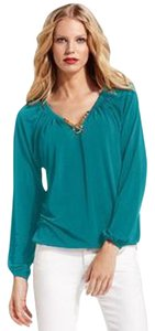 MICHAEL Michael Kors Peasant Shirt Top Teal