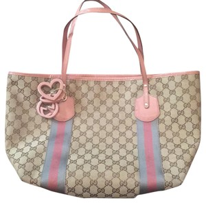 Gucci Tote in tan with pink-ish details