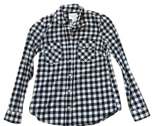 Madewell Button Down Shirt Navy and White