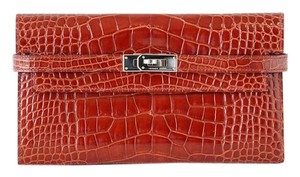 Hermès HERMES Kelly Long Wallet Alligator Rich Rouge H Palladium