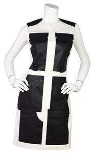 Alexander Wang short dress Black And White Nwt Faux Leather Sleeveless on Tradesy