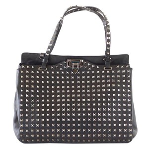 Valentino Rock Stud Tote in Black with silver studs