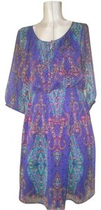 Nicole Miller short dress purple and multicolore paisley print New/unused With Tags Flattering Style Or High-end Bohemian Peasant Style on Tradesy