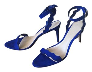 Loeffler Randall Suede Blue Scalloped Heel Strap Bright Blue Sandals