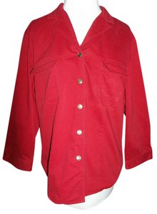 Evan Picone Size 16 Snaps Logo Button Down Shirt red