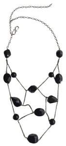 fire eice Classy antique silver/ black onyx necklace