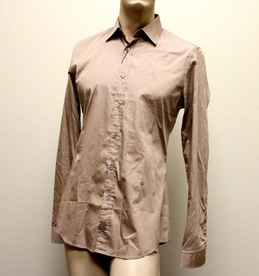 Gucci Brown Men s Cotton Silk Dress 42 16.5 Slim 269067 2464 Shirt ... 05028a2c3521