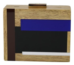 Tory Burch Wood And Resin Cube Blue Clutch
