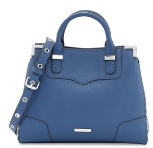 Rebecca Minkoff Navy Saffiano Leather Amorous Convertible Satchel in Blue