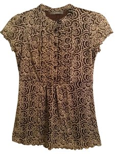 Liz Claiborne 100% Polyester Top Brown & Cream design