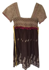 Free People short dress Multi colored Bohemian Brown on Tradesy