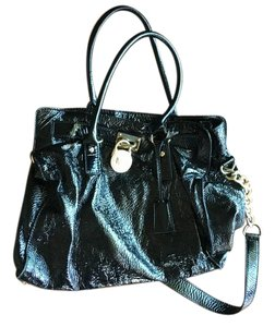 Michael Kors Gold Hardware Patent Leather Satchel in Black