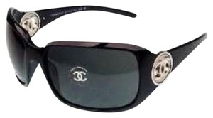 Chanel Chanel 6023 Sunglasses Black Plastic CC Logo Silver Hardware SHW Oversized wrap Classic Timeless