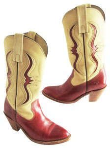 Frye Leather Cowgirl 7240 Red Cream Boots