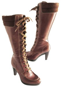 Cole Haan Leather Lace Platform Brown Boots