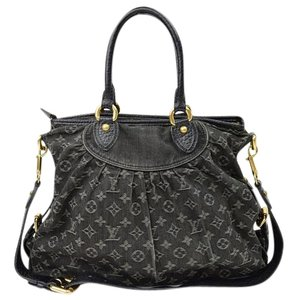 Louis Vuitton Neo Cabby Gm Black Denim Clutch