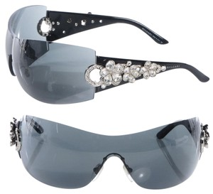 BVLGARI Bulgari Bvlgari Grey Gradient Flower Crystal Shield Sunglasses 652-b