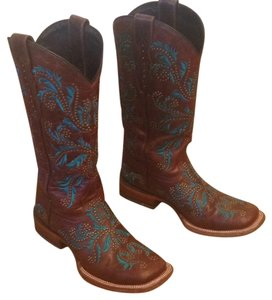 Lucchese Brown with teal design Boots