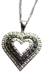 Zales 1/2ctw. Black & White Diamond Heart Pendant w/20