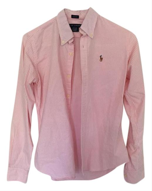 Ralph lauren pink and white button up button down shirt for Pink and white ralph lauren shirt