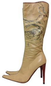 Roberto Cavalli Leather Knee High Beige Boots
