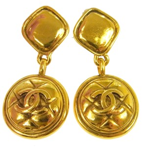 Chanel Chanel Vintage Gold CC Charm Medallion Long Earrings