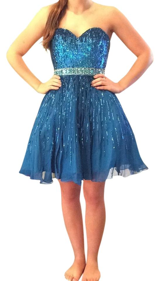 b733de32c3 Sherri Hill Peacock 8528 Cocktail Dress. Size  0 (XS) Length  Above Knee ...