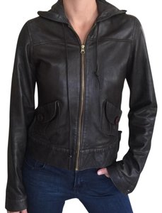 Mike & Chris Womens Leather Hoodie Brown Leather Jacket