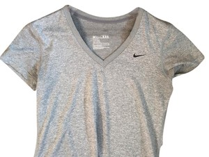 Nike Dri-Fit Short Sleeve V-neck in Heather Grey