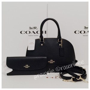 Coach Dome Leather Gift Set Satchel in Black