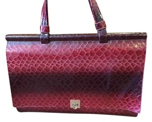 Dasein Women's Patent Croco Embossed Faux Leather Handbag Satchel in Red
