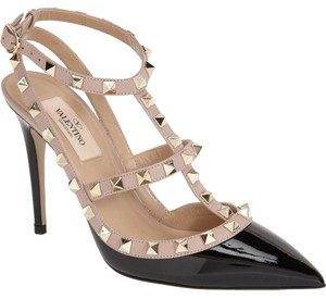 Valentino Rockstud Black & Blush Patent Pumps