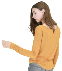 Double Zero Long Sleeve Basic Boutique T Shirt Mustard