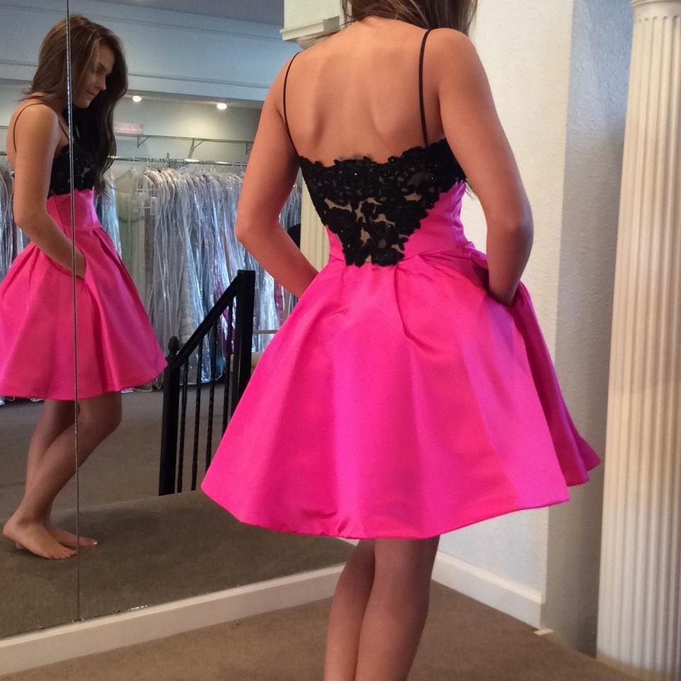 2d01ece529 Sherri Hill Fuschia Black 32099 Above Knee Cocktail Dress Size 2 (XS) -  Tradesy