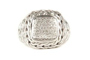John Hardy Silver Braided Ring With Diamonds In Cushion Cut Setting
