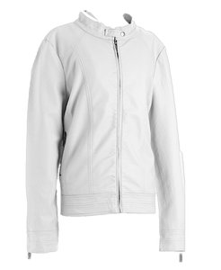 Royalty Classic Edgy Date Night Night Out Cool Creamy White Leather Jacket