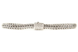 John Hardy Silver Braided Link Bracelet With Diamond Covered Clasp