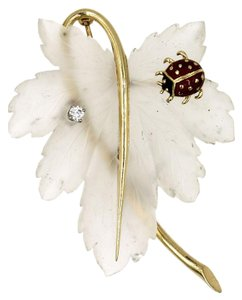 Tiffany & Co. Tiffany & Company 1940's Crystal Diamond Ladybug Pin Brooch