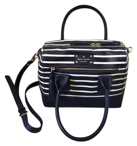 Kate Spade Satchel in White And Navy Blue