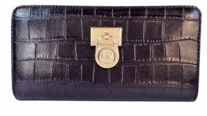 Michael Kors Hamilton Traveler Zip Around Croc Leather Wallet NWT Black