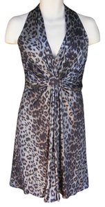 David Meister Open Back Metallic Animal Print Dress