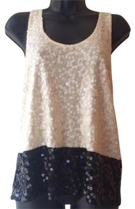 J.Crew Sequins White Top Black and cream/white